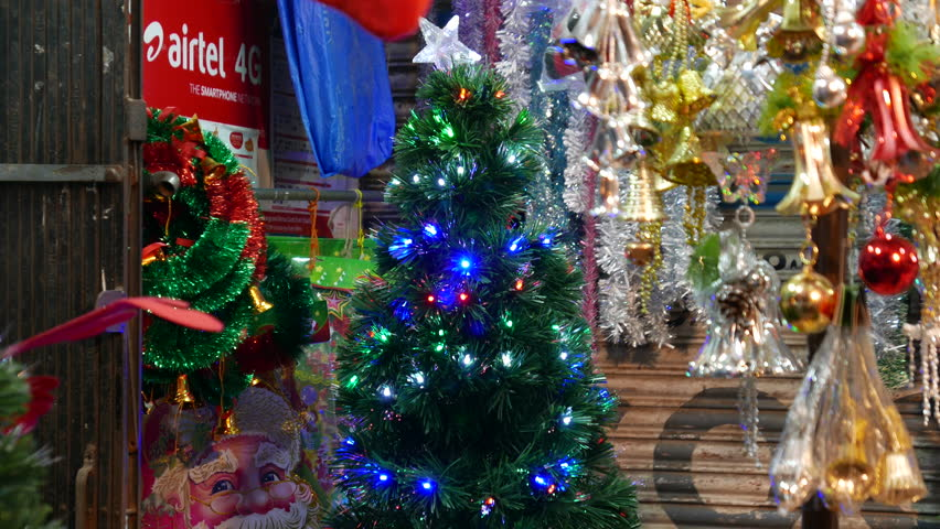 Christmas Trees In India Part - 48: Mumbai, India:December 20, 2015: 4k Footage Of Shops In Mumbai Selling