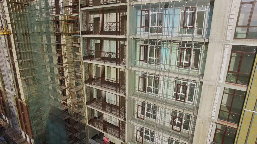 moscow oct 04 2015 facade of residential complex falcon fort under construction at - Brick Apartment 2015