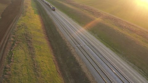 Aerial view of train at sunset