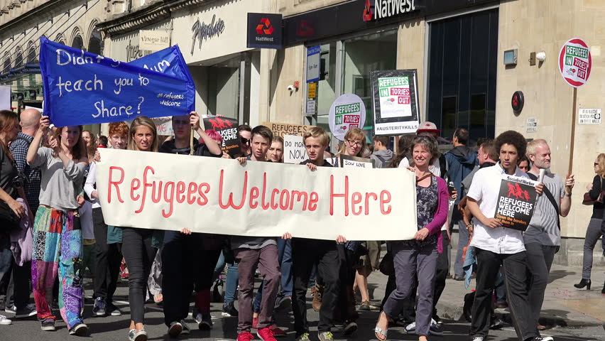 Bristol, UK - september 12 2015 - Refugees Welcome Here: National Day of Action (Bristol) -