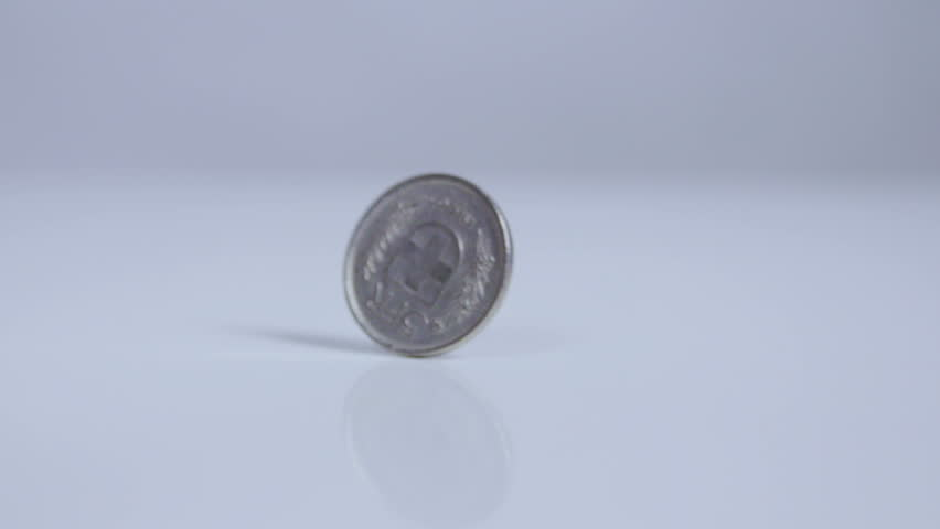 Five swiss franc coin rolling on white surface, slow motion  | Shutterstock HD Video #13659521