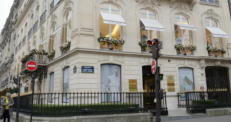 PARIS, FRANCE - CIRCA 2015: Zoom in to Elie Saab luxury fashion house storefront facade on Avenue Raymond Poincare