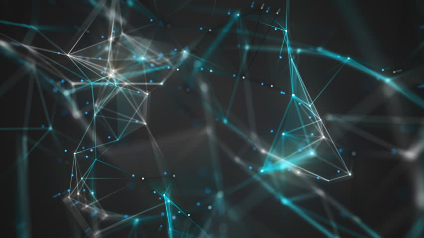 Network Connection Cloud Loop 6B: dark background, rotating flickering cool blue light mesh cloud of connections with white lines and dots with depth-of field effect. FullHD seamless loop. | Shutterstock HD Video #13668221