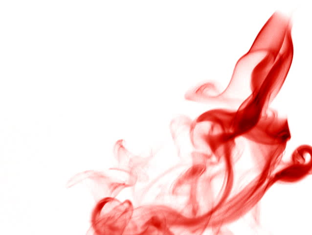 Red Smoke On A White Background Falling Upside Down Very