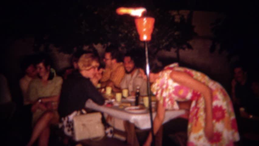 SAN DIEGO CALIFORNIA 1966 Adult Tiki Torch Tropical Hawaiian Theme Night Time Backyard Party