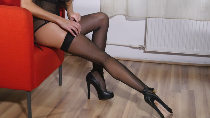 fd227eed8 Sexy long legs in black stockings - fashion model woman