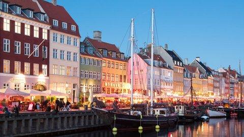 Time Lapse of Scenic Nyhavn District Day to Night - Copenhagen Denmark - Circa November 2015