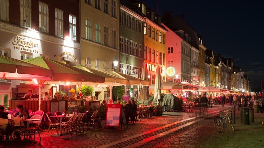 Time Lapse of Scenic Nyhavn District at Night - Copenhagen Denmark - Circa November 2015   Shutterstock HD Video #13753709