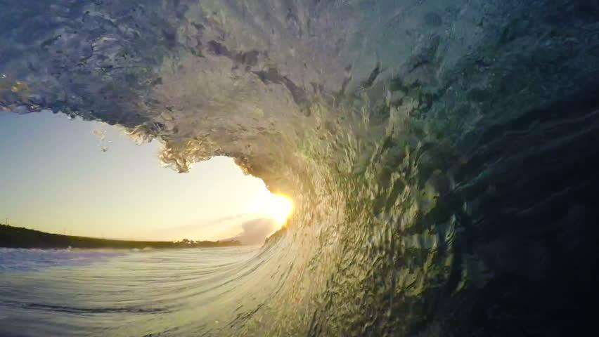 POV Man Surfing Ocean Wave, Extreme Sport HD Slow Motion. Surfer on Blue Ocean Wave Getting Barreled | Shutterstock Video #13768889