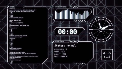 Futuristic computer screen animation with different types of data (seamless loop)