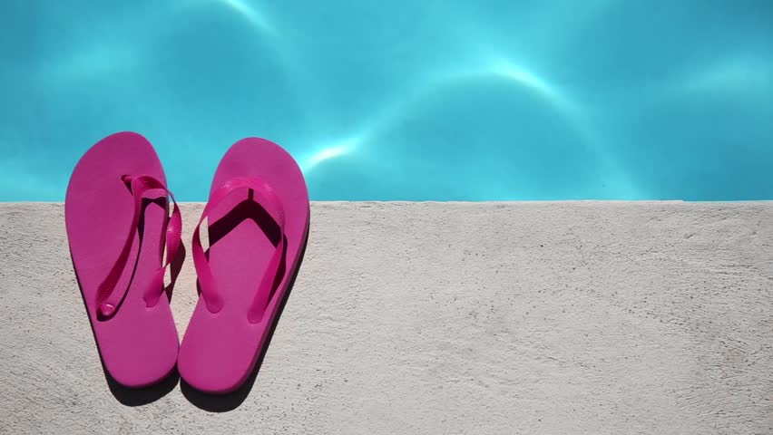 cb059f35679 Pink Slippers Near Swimming Pool Stock Footage Video (100% Royalty ...
