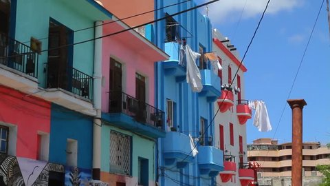 Havana, Cuba. Clothes Hanging from Window Drying. Drying Clothes on a Sunny day, Handing from Colorful Building.