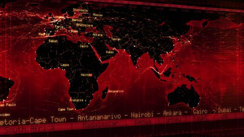 World map with connections, countries, cities and time zones. Loopable world map with major cities names, countries and time zones. Aerial, maritime and ground routes. Red.