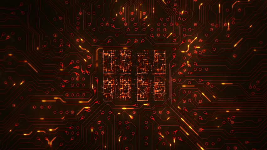 Futuristic circuit board with moving electrons. Loopable. Technology. Orange. 2 videos in 1 file. Dolly in with CPU animation. More color options in my portfolio. | Shutterstock HD Video #13807004
