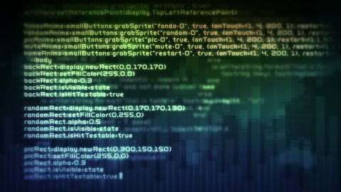 Abstract Programming Code Moves in Stock Footage Video (100