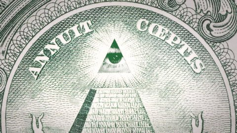 All seeing eye looking and blinking on US dollar bill