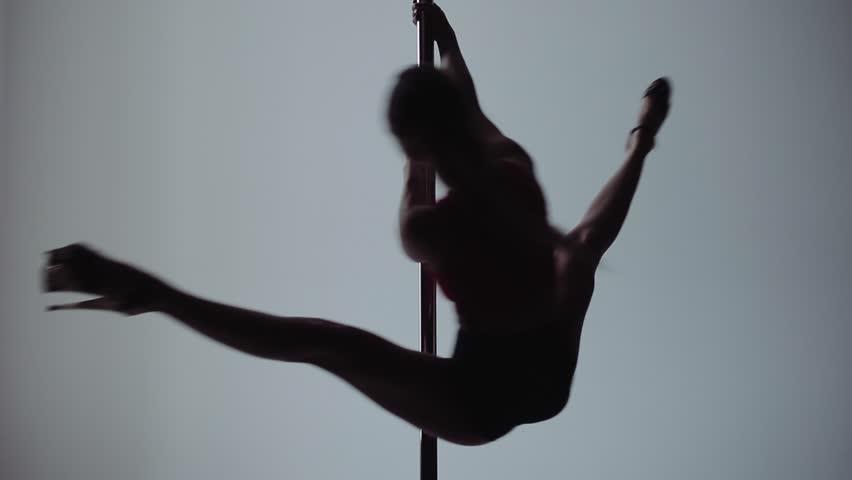 Beautiful Woman Doing Pole Dance, Young Pretty Female Dancing, Fitness.