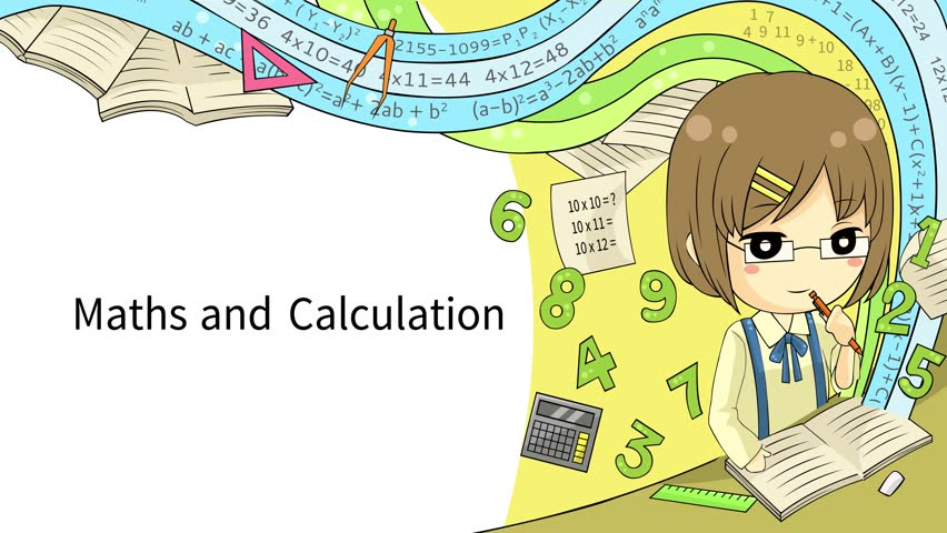 Cartoon Animation Background Template Layout Of A School Student Doing Math Calculation With Fantasy Effect And Mathematics Formula Icon For Children