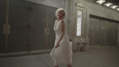 Marilyn Monroe girl reenactment of famous Seven Year Itch scene with white dress, laughing in NYC 1080