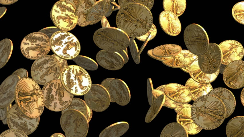 e86a5dd796b Gold Coins Falling with Black Stock Footage Video (100% Royalty ...
