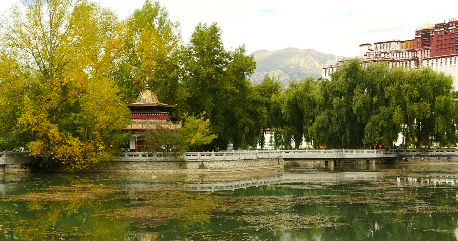 4k Lhasa Potala park in autumn,Tibet china,golden trees & temple at the lake. gh2_09769_4k