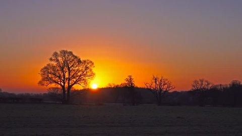 British Landscape morning sunrise over winter countryside landscape time lapse - Staffordshire, England: January 2016 - 02666698