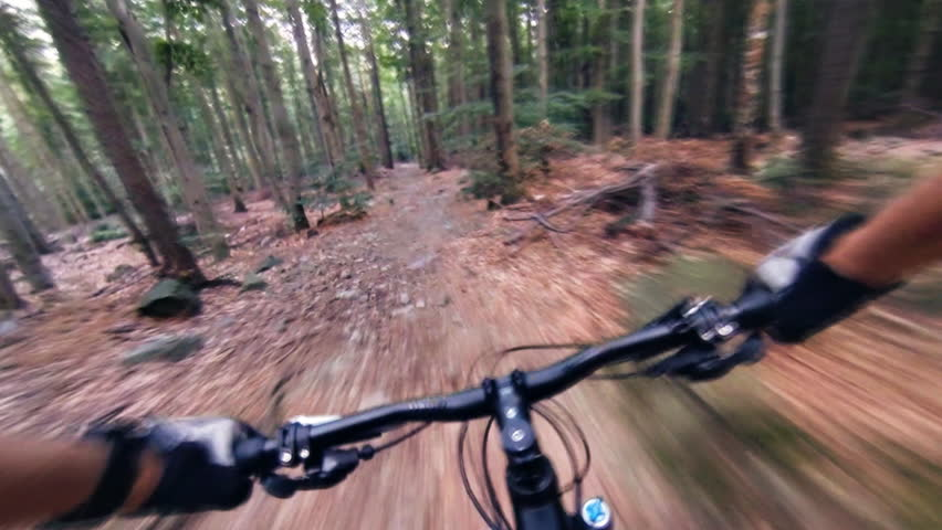 Speed riding downhill a MTB bike on rocky mountain. View from first person perspective POV. Inspiration and motivation extreme sport activity. Gimbal stabilized view. | Shutterstock HD Video #13963292