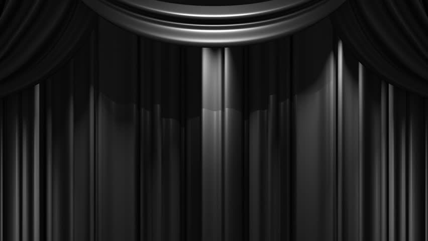 Hd0015Black Stage Curtain On Blue Chroma Key Loop Able 3D Render Animation