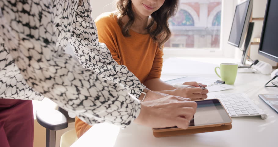 Business woman using tablet app showing 3d printed model of geodesic dome walking through modern office to diverse team meeting   Shutterstock HD Video #13965932