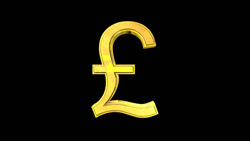 Golden Pound Symbol Rotating Stock Footage Video 100 Royalty Free