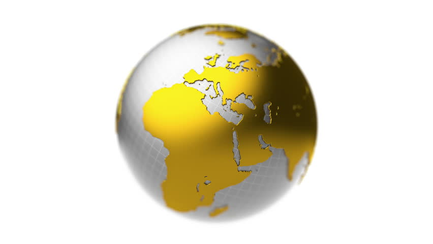Gold earth globe with scratches and bump map rotating against earth model of silver and gold rotating seamless loop depth of field hd gumiabroncs Gallery