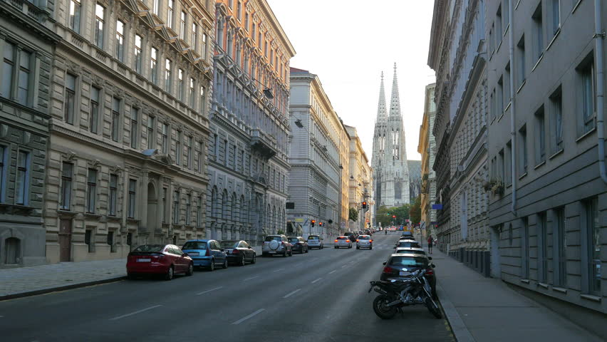 street view with buildings and road in vienna  austria