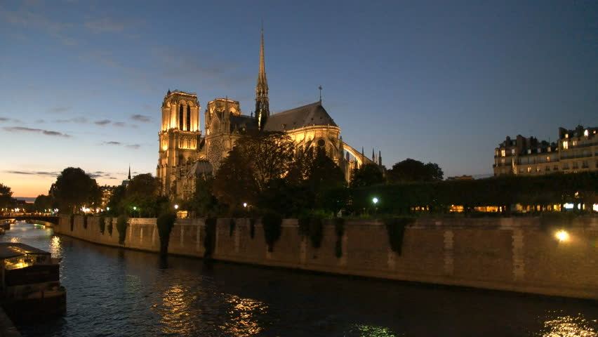 Dusk at notre dame cathedral in paris | Shutterstock HD Video #14006141