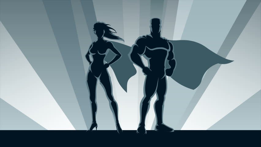 Superhero Couple Loop: Animation of male and female superheroes posing in front of lights.