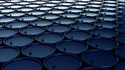 Seamless 4k rendered animation of stack of oil barrels. Looped animation
