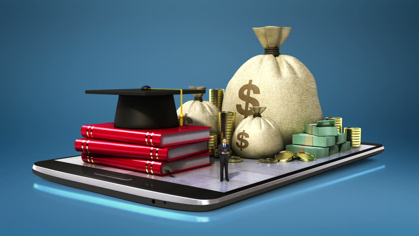 Education expenses loan, graduation cap  on smart phone, smart pad, mobile.(included alpha)