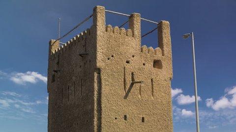 Watch tower of Ajman timelapse. United Arab Emirates