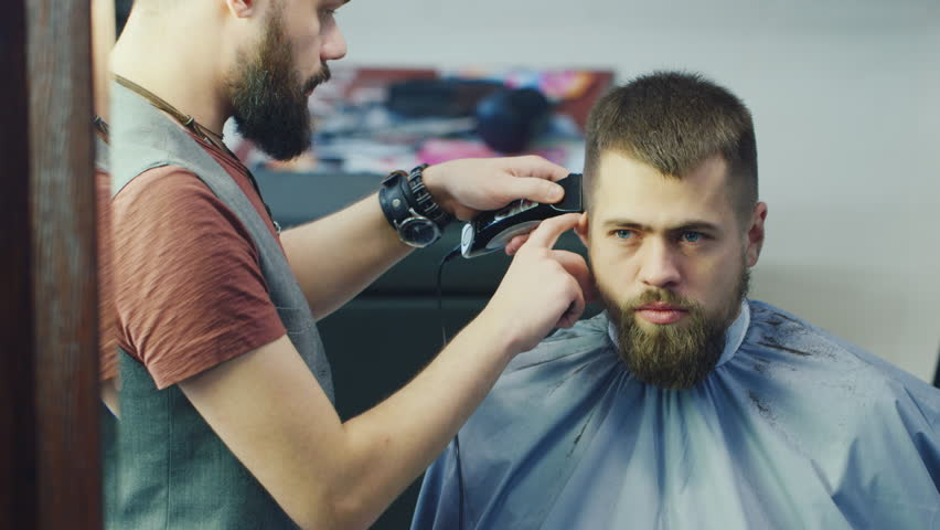 Male Barber At Work Doing Stock Footage Video 100 Royalty Free