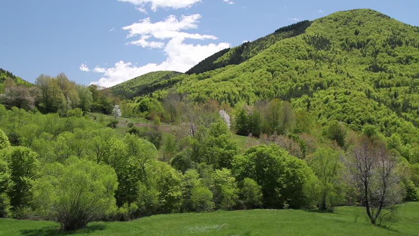Green Hills In Spring. Rural Scene Form Rhodope Mountain, South ...