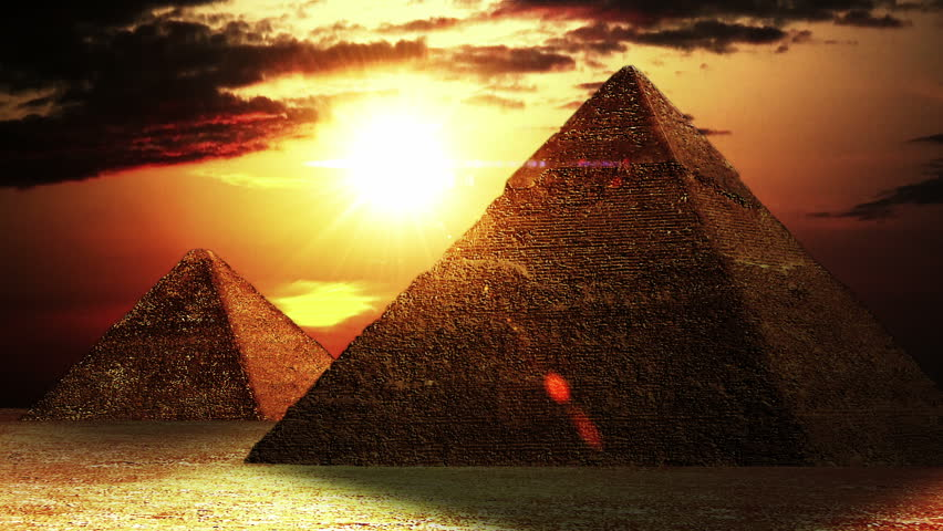 Realistic Egyptian Pyramids with slight camera movement, animation.