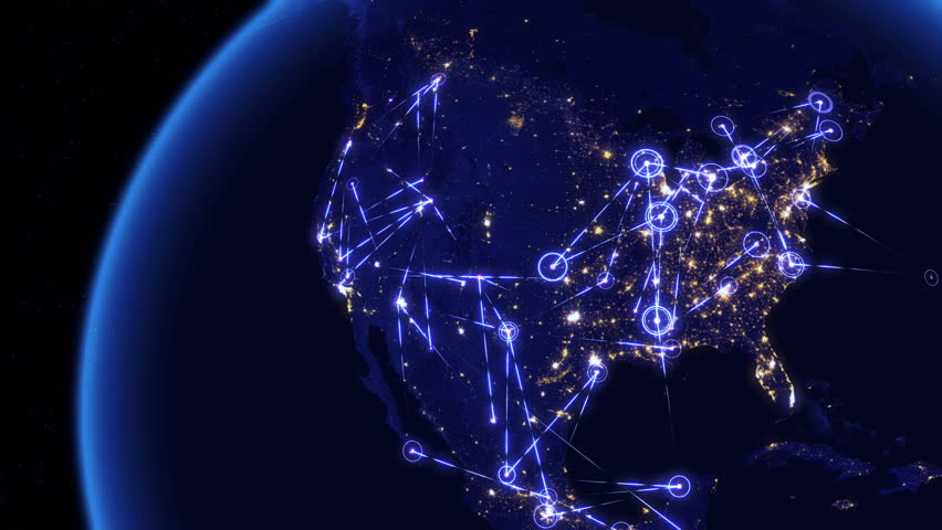 Global communications through the network of connections over North America. Concept of internet, social media, traveling or logistics. High resolution texture of city lights at night. 4k - Ultra HD.