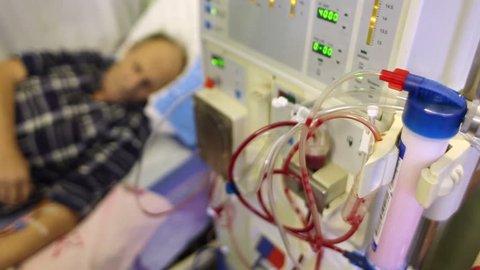 Medical equipment. The process of dialysis. Hemodialysis machine.