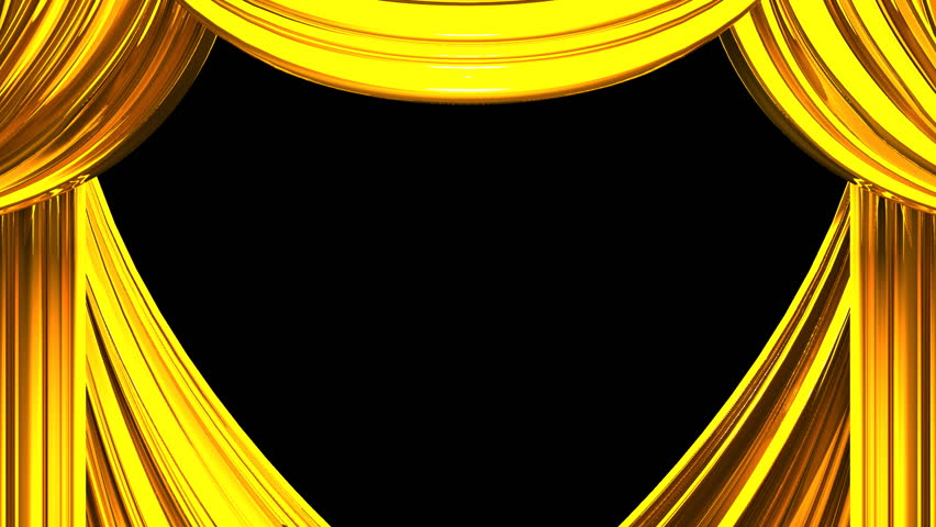 Gold Stage Curtain On Black Background 3D Render Animation Stock Footage Video 14069921