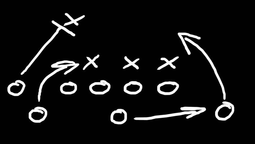 American football field tactics animation. You can make the black BG transparent by using luma key.Easily customizable for your scenes.