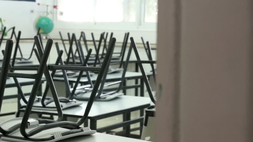 Up chairs in a classroom Illustration