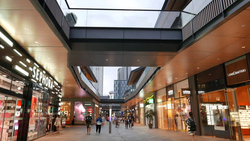 Sept.25,2015-Chengdu,China:  Shoppers are walking in Chengdu Sino-Ocean Taikoo Li, a landmark business district in Chengdu.