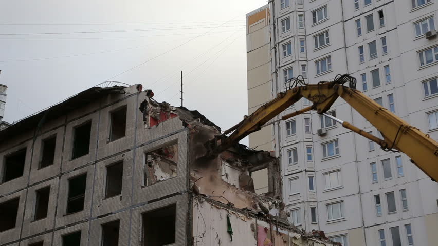 moscow russia december 24 2015 excavator machinery working on demolition old house - Brick Apartment 2015
