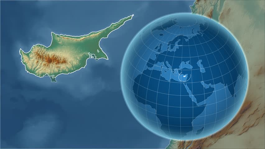 Cyprus shape animated on the physical map of the globe stock cyprus shape animated on the relief map of the globe 4k stock video clip sciox Gallery
