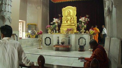 India - CIRCA 2013 - The Buddha statue in the Mulagandhakuti shrine at Sarnath.