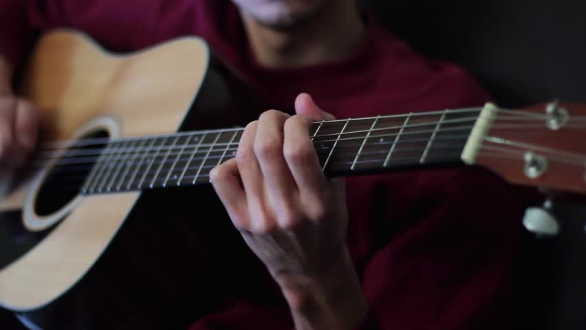 Professional Jazz Musician Playing An Acoustic Guitar Stock Footage Video 14206661